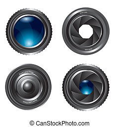 zoom lens isolated over white background. vector...