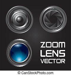 zoom lens vector - zoom lens over black background. vector...