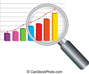zoom magnifying glass and colorful graph