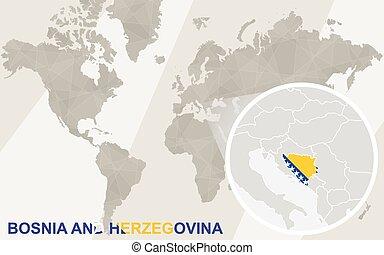 Zoom on Bosnia and Herzegovina Map and Flag. World Map.