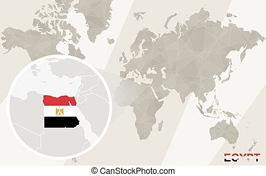 Zoom on Egypt Map and Flag. World Map.