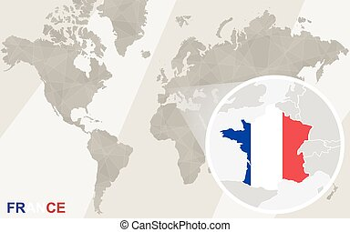 Zoom on France Map and Flag. World Map.