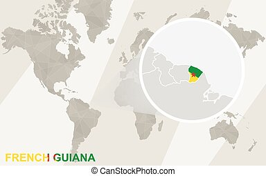 Zoom on French Guiana Map and Flag. World Map.