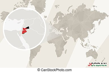 Zoom on Jordan Map and Flag. World Map.