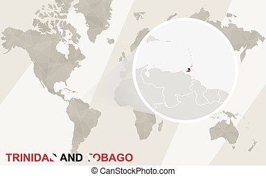 Zoom on Trinidad and Tobago Map and Flag. World Map.