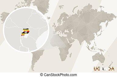 Zoom on Uganda Map and Flag. World Map.
