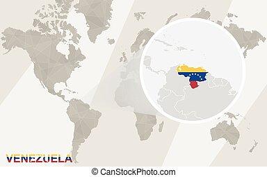 World map zoom on usa, venezuela. vector illustration.