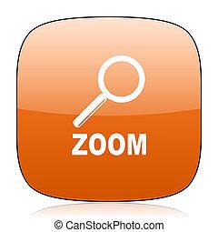 zoom orange square web design glossy icon