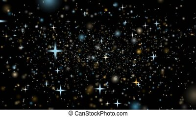 zoom out deep space gold snow and ice star dust floating slowly and faded on black screen