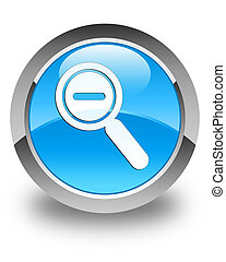 Zoom out icon glossy cyan blue round button