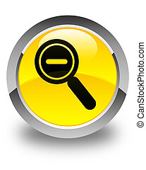 Zoom out icon glossy yellow round button