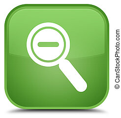 Zoom out icon special soft green square button