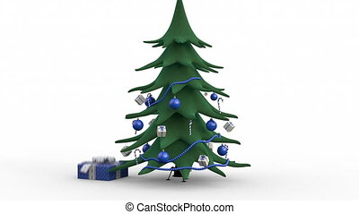 Zoom out of a growing decorated christmas tree and gift boxes. Blue version
