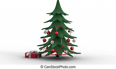 Zoom out of a growing decorated christmas tree and gift boxes. Red version