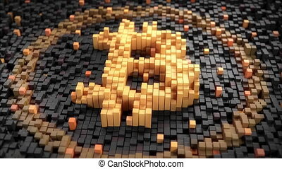 Zoom out of pulsating 3d pixels forming an orange bitcoin...