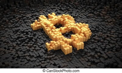 Zoom-out of pulsating blocks forming a golden bitcoin sign