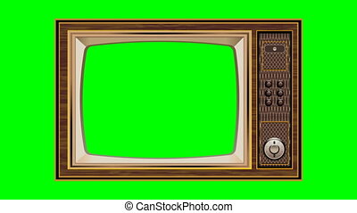 Zoom out Shot of a old tv with Horizontal Green Screen Mock Up