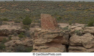 zoom out shot of ruins at Hovenweep national Monument