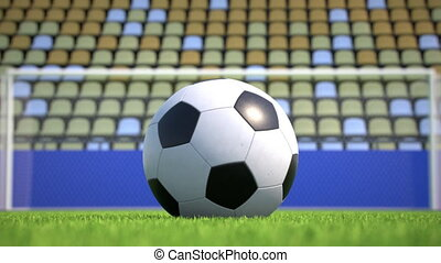 zoom-out to a soccer ball lying on the grass in an empty stadium