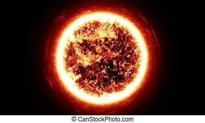 zoom, para, a, sol, em, a, espaço