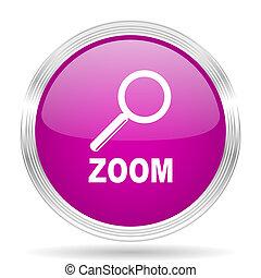 zoom pink modern web design glossy circle icon