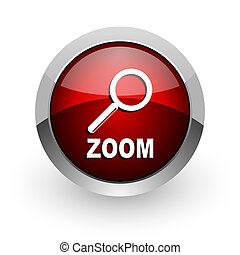 zoom red circle web glossy icon
