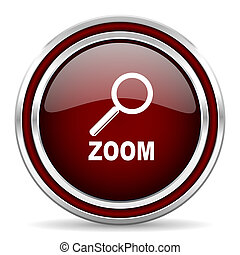 zoom red glossy web icon