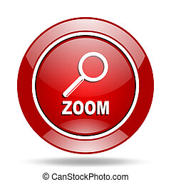 zoom red web glossy round icon