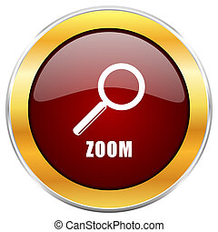 Zoom red web icon with golden border isolated on white background. Round glossy button.