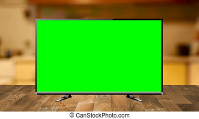 Zoom Shot of a TV with Horizontal Green Screen Mock Up