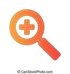 Zoom sign illustration. Orange applique isolated.