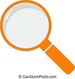 Zoom sign illustration. Orange icon on white background.
