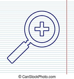 Zoom sign illustration. Vector. Navy line icon on notebook paper as background with red line for field.