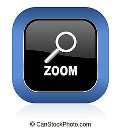 zoom square glossy icon