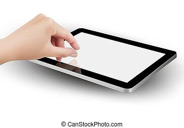 zoom, tablet's, screen., dedos, beliscando, vector.