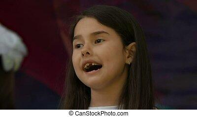 zoom teen girl singing slow motion video