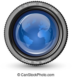 Zoom the World! Vector illustration of camera lens with...