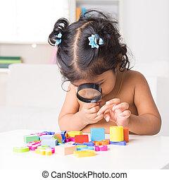 zoom, vidro, indianas, através, brinquedos, menina, magnificar
