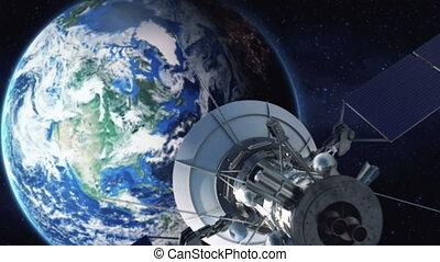 zoomen in, van, een, satelliet