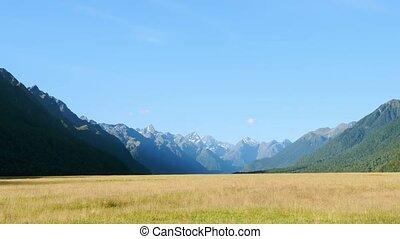 Fiordland National Park, New Zealand - Zooming into mountain...