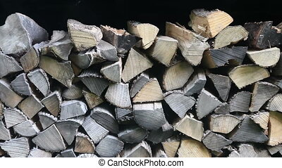 firewood - Zooming out from firewood in a shed
