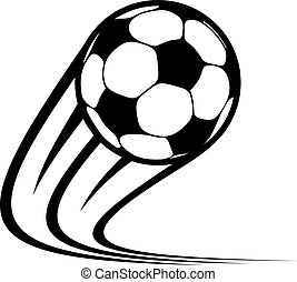 Zooming soccer ball flying through the air with curved motion trails in a black and white vector doodle sketch