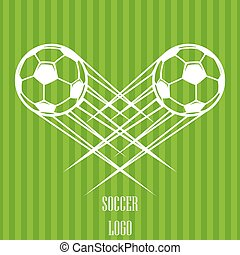 Zooming soccer ball logo flying through the air. Vector illustration