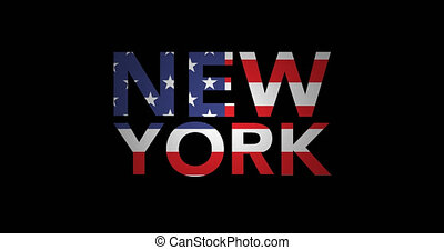 Zooming text New York with flag