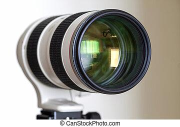zoomobjektiv, proffesional, fotoapperat, telefoto, digital, weißes