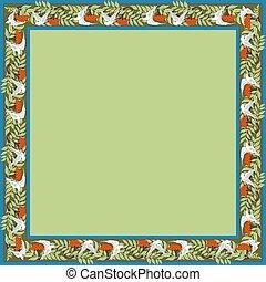 zoomorphic, dove., 型, フレーム, 広場, ornament., rowanberry