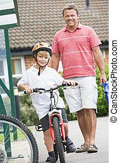 zoon, zijn, fiets, man, schouwend
