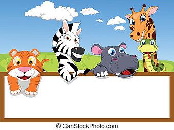 zootier, karikatur, mit, holzschild