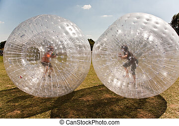 zorbing, ボール, 持ちなさい, たくさん, 楽しみ, 子供