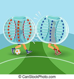 Zorbing illustration. Two man play zorbing soccer